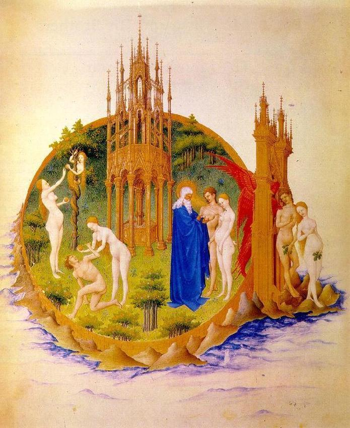 The Garden of Eden; the Temptation, the Fall and the Expulsion Miniature from 'Les Tres Riches Heures du Due de Berry' by Pol de Limbourg and brothers, before 1416, Musee Conde, Chantilly