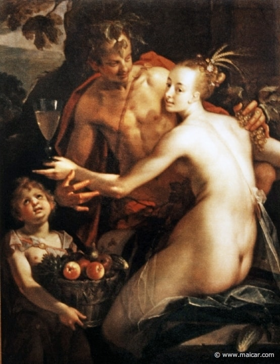 Bacchus, Ceres and Cupid by Hans von Aachen, 1552-1615, Kunsthistorisches Museum, Vienna