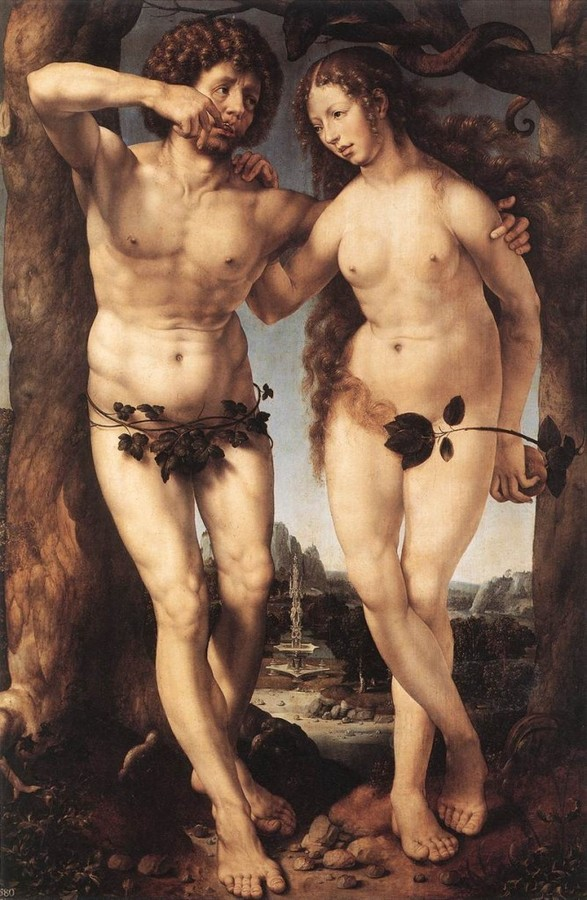 Adam and Eve by Jan Gossart called Mabuse, died c.1533, Her Majesty the Queen