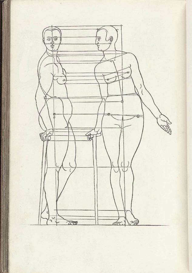 Woodcut from Four Books on the Human Proportions by Albrecht Durer, 1471-1528