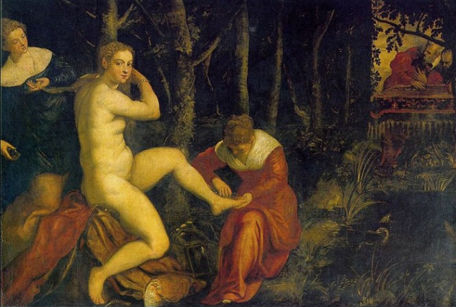 Susannah and the Elders by Jacopo Tintoretto, 1518-94, Louvre, Paris