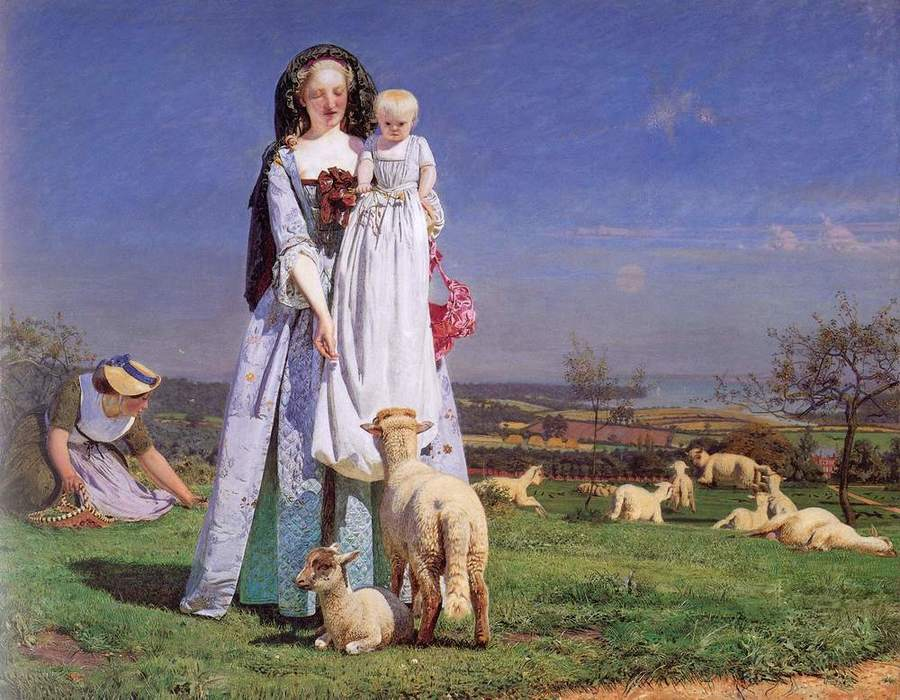 The Pretty Baa Lambs by Ford Madox Brown, 1821-93, Birmingham City Museum