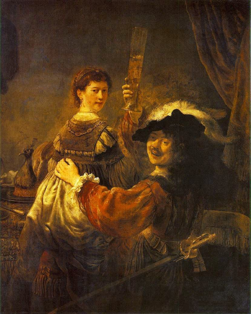 Portrait of Himself and Saskia by Rembrandt van Ryn, 1606-69, Pinakotek, Dresden
