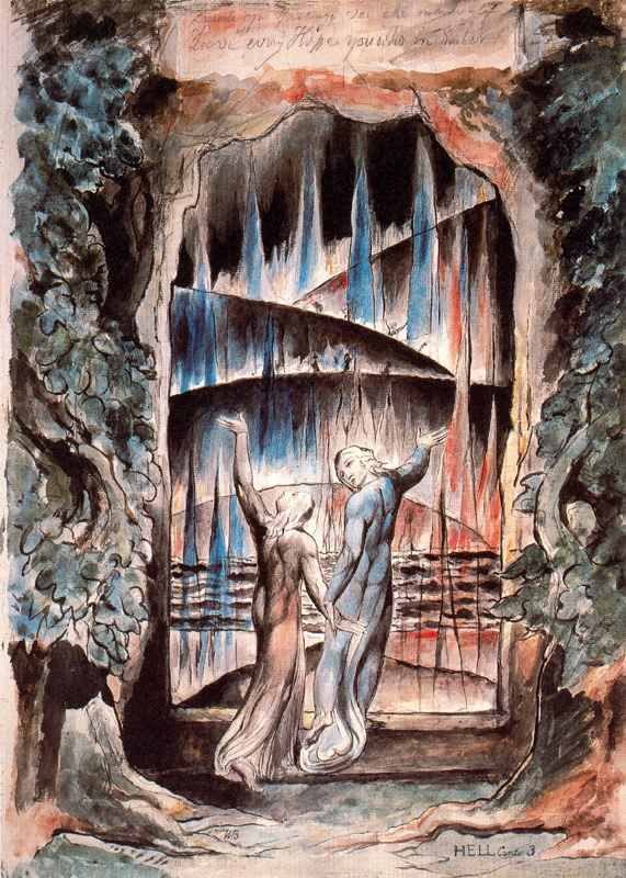 Water-colour illustration to Dante's Divine Comedy - inscription Over the Gate of Hell by William Blake, 1757-1827, Tate Gallery, London
