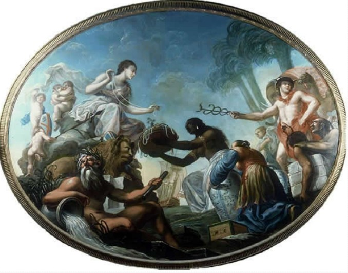 India Offering Her Pearls to Britannia, painting done for the East India Company in the late 18th century, Foreign and Commonwealth Office