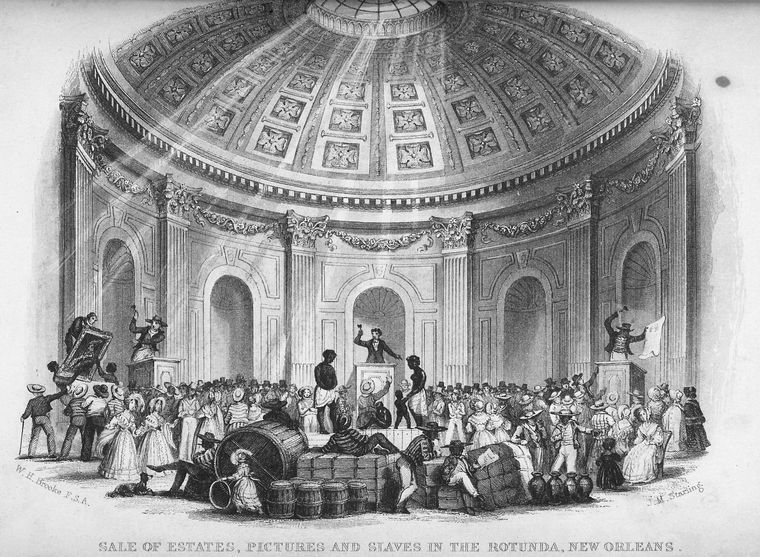 Sale of Pictures and Slaves in the Rotunda, New Orleans, 1842