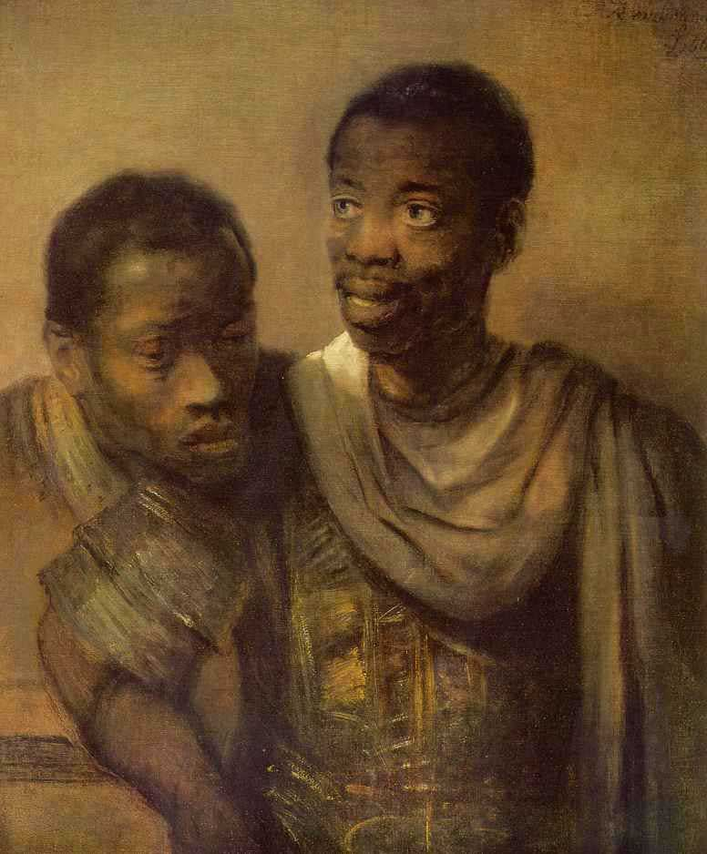 Two Negroes by Rembrandt van Ryn, 1606-69, The Hague, Mauritshuis